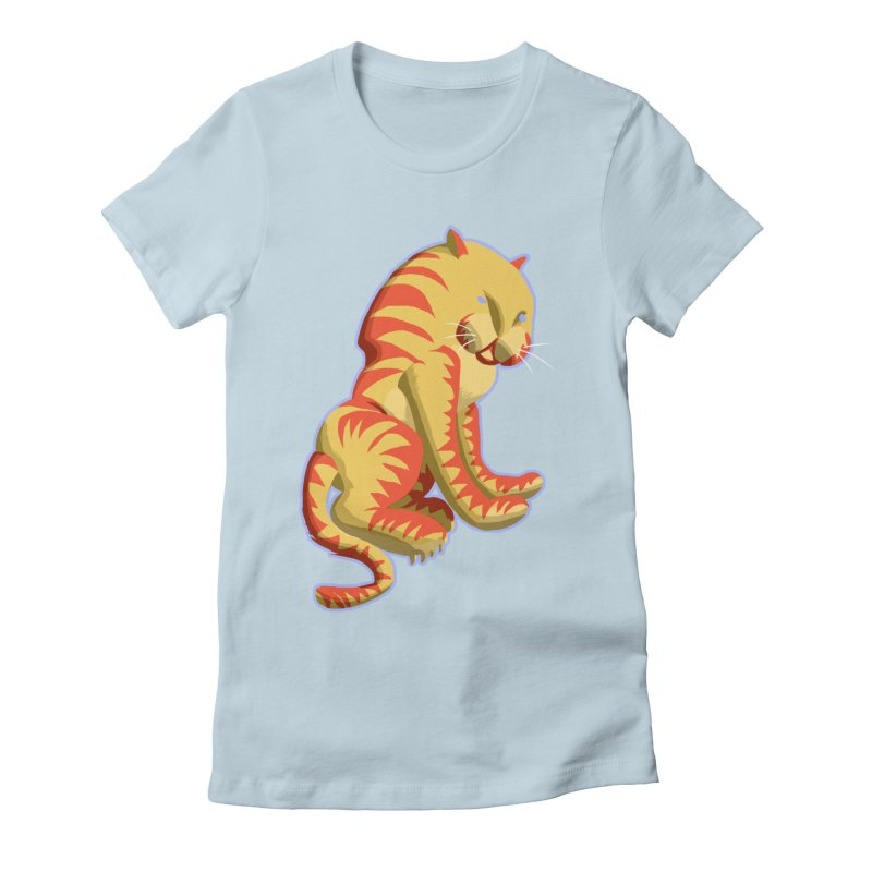 Groovy Tiger Women's Fitted T-Shirt by fireawaymarmotproductions's Artist Shop
