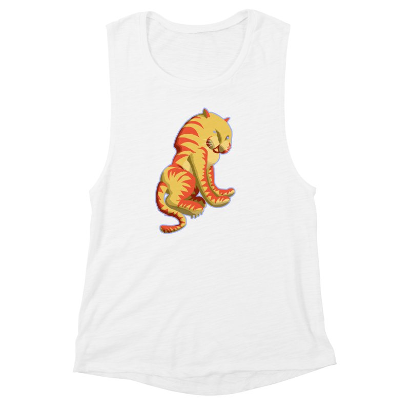 Groovy Tiger Women's Muscle Tank by fireawaymarmotproductions's Artist Shop