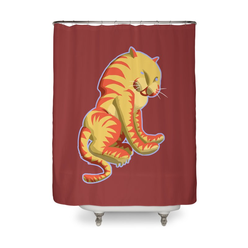 Groovy Tiger Home Shower Curtain by fireawaymarmotproductions's Artist Shop