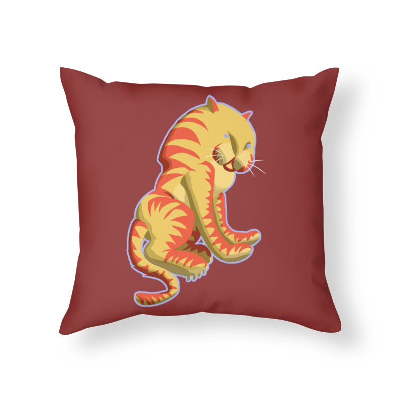 Groovy Tiger Home Throw Pillow by fireawaymarmotproductions's Artist Shop