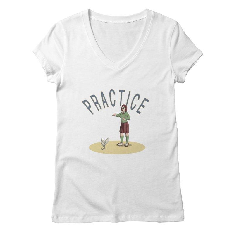 PRACTICE Women's V-Neck by fireawaymarmotproductions's Artist Shop