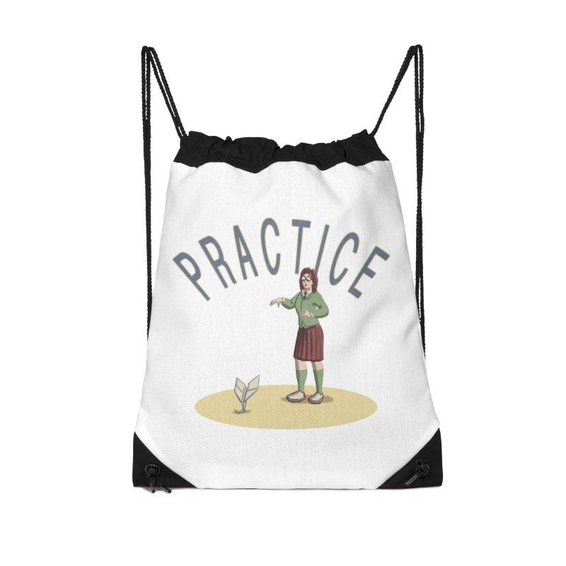 PRACTICE Accessories Drawstring Bag Bag by fireawaymarmotproductions's Artist Shop