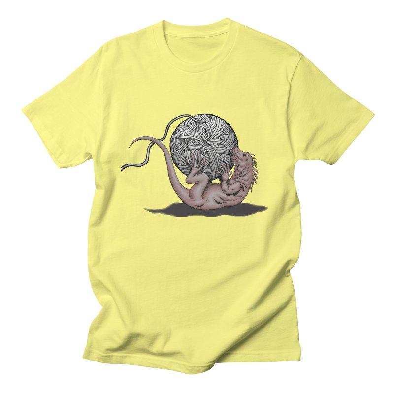 Gecko with Yarn Men's T-Shirt by fireawaymarmotproductions's Artist Shop