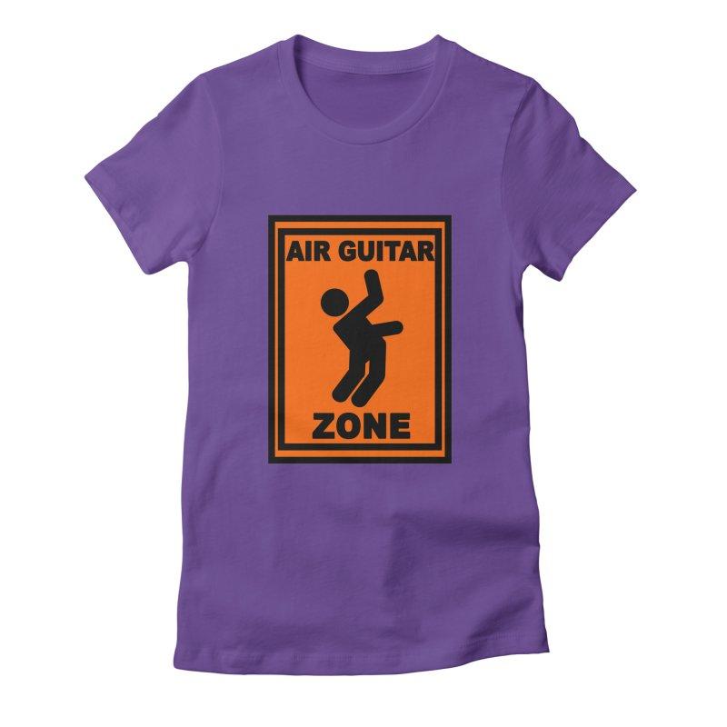 Air Guitar Women's Fitted T-Shirt by fireawaymarmotproductions's Artist Shop