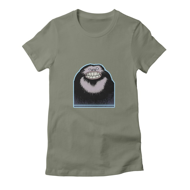 bigfoot Women's Fitted T-Shirt by fireawaymarmotproductions's Artist Shop