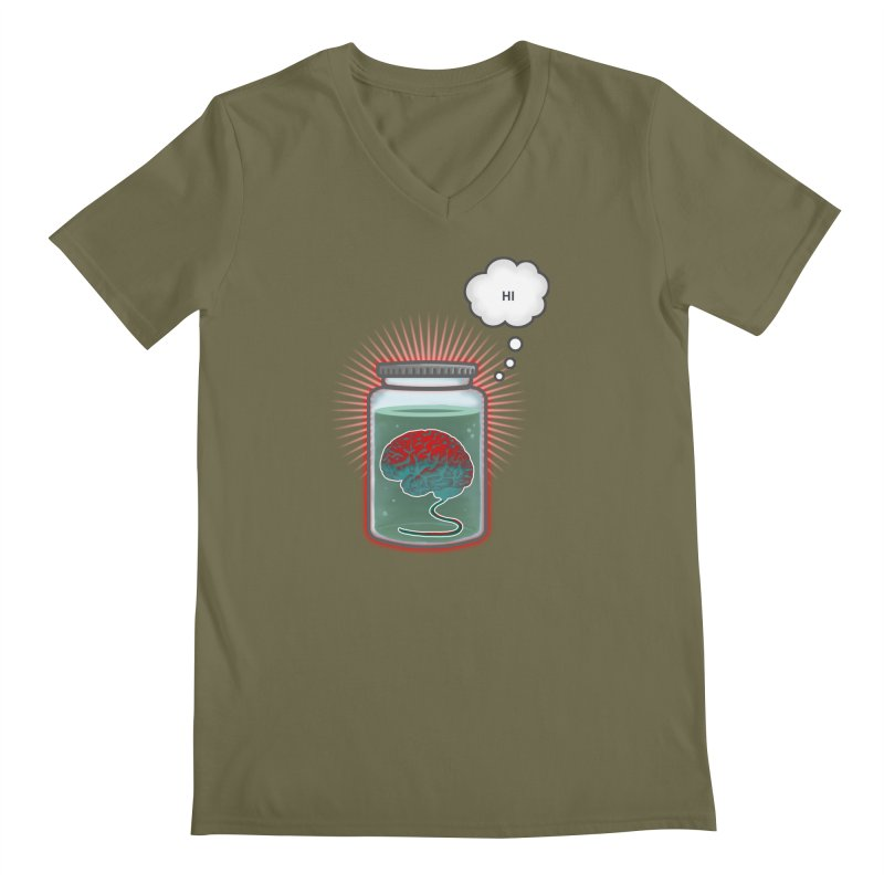 Just Because I'm a Brain In a Jar Doesn't Mean We Can't Be Friends Men's V-Neck by fireawaymarmotproductions's Artist Shop