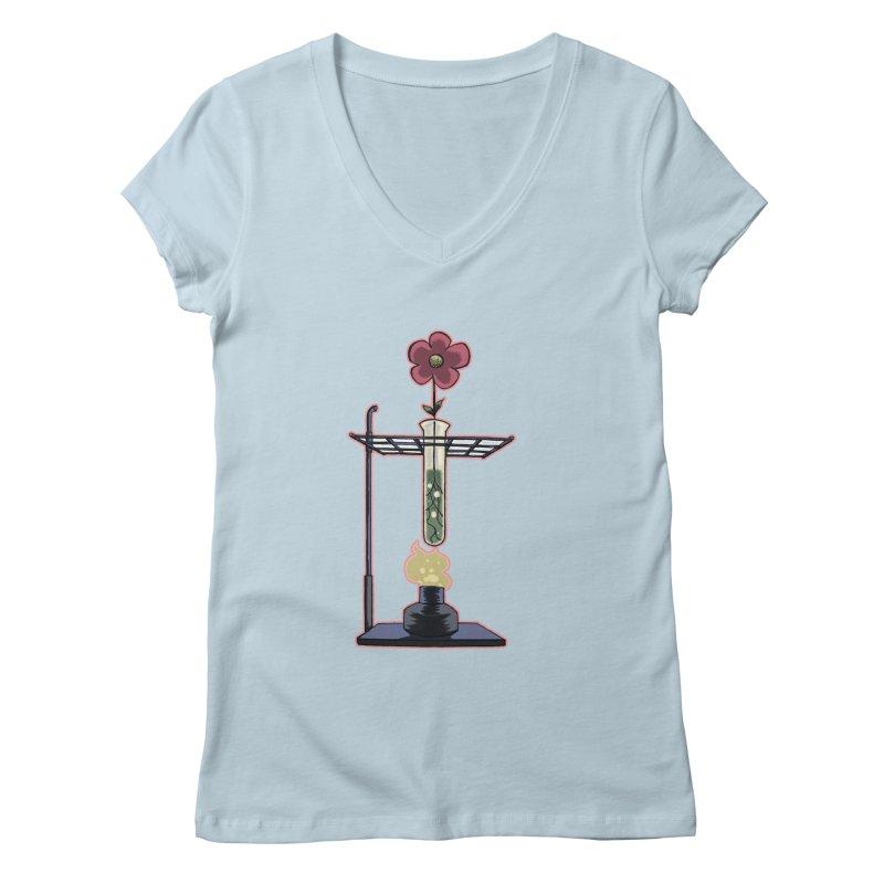 Bunsen Burner Flower Women's V-Neck by fireawaymarmotproductions's Artist Shop