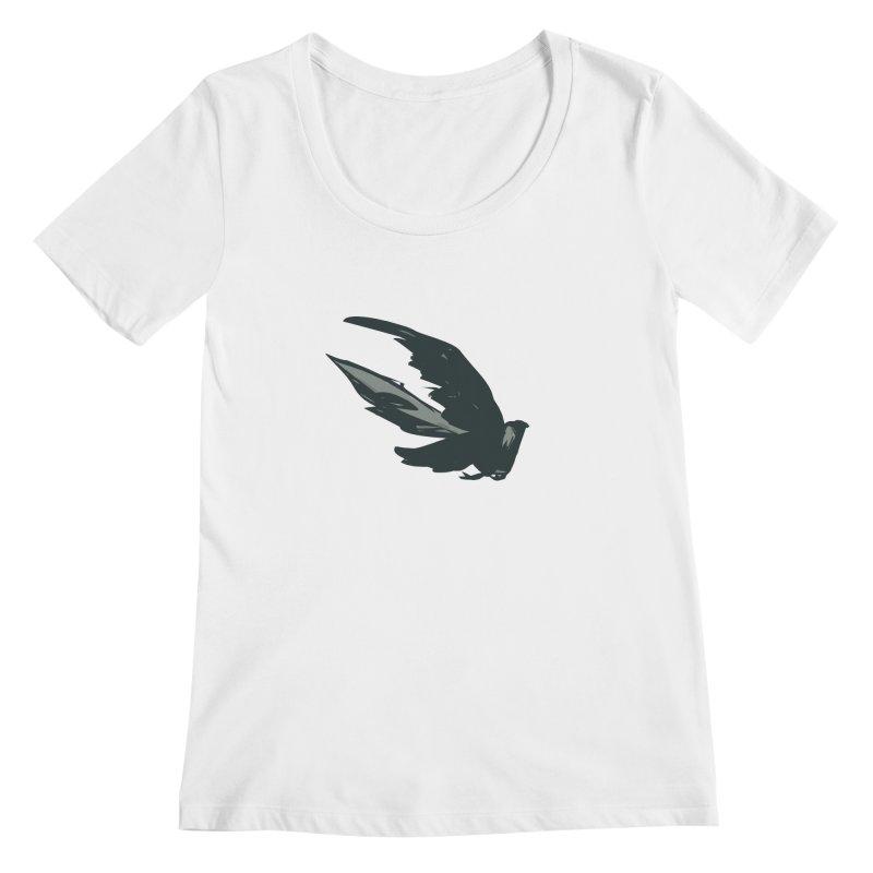Bird in Flight Women's Scoopneck by fireawaymarmotproductions's Artist Shop