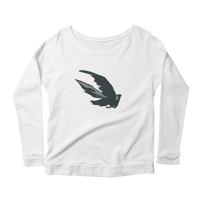 Bird in Flight Women's Longsleeve Scoopneck  by fireawaymarmotproductions's Artist Shop