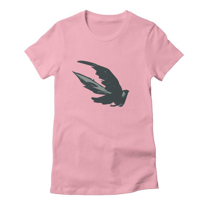 Bird in Flight Women's Fitted T-Shirt by fireawaymarmotproductions's Artist Shop