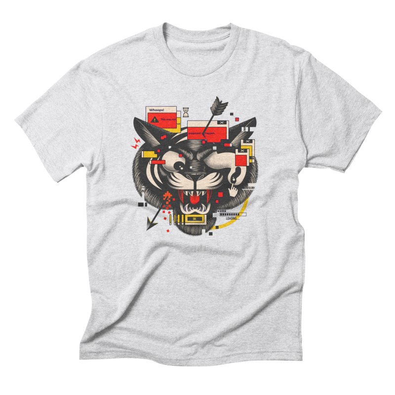 Tiger Glitch T-shirt in Men's Triblend T-Shirt Heather White by Pierre's Artist Shop