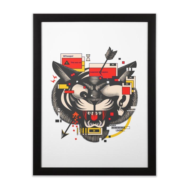 Tiger Glitch Home Framed Fine Art Print by Pierre's Artist Shop