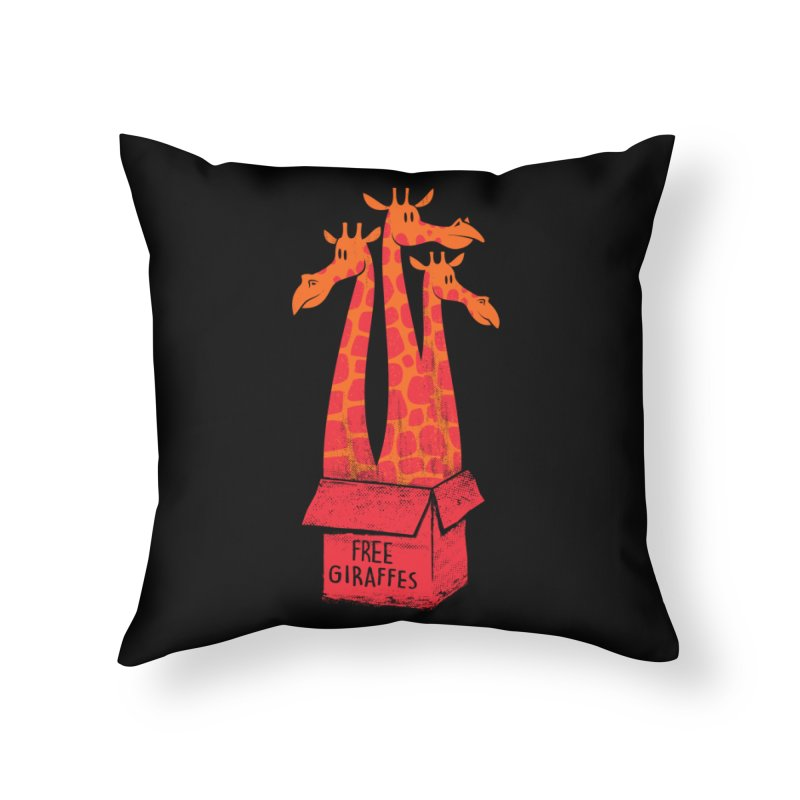 Free Giraffes Home Throw Pillow by firehat45's Artist Shop