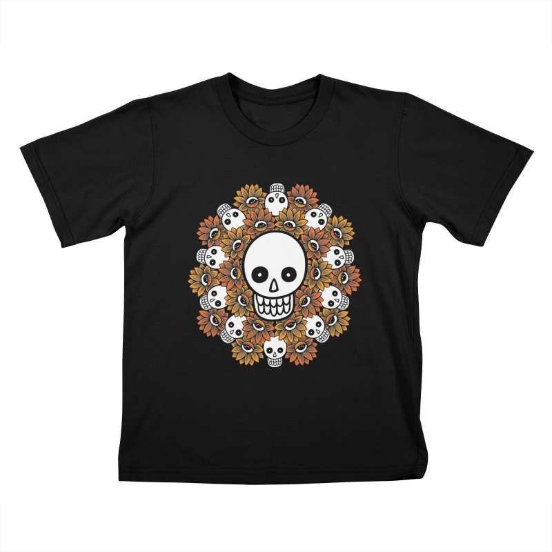 Skull Mandala Kids T-Shirt by fireweatherstudio's Artist Shop