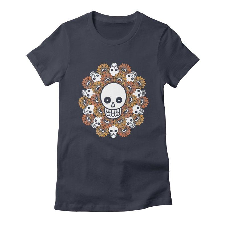 Skull Mandala Women's Fitted T-Shirt by fireweatherstudio's Artist Shop