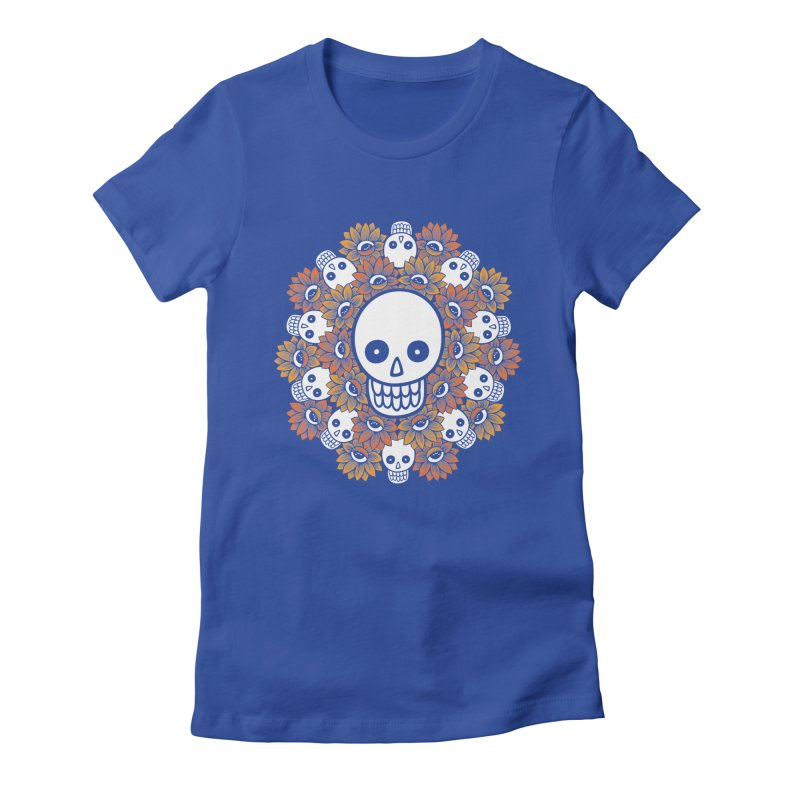 Skull Mandala Women's Fitted T-Shirt by fireweatherstudio's Artist Shop
