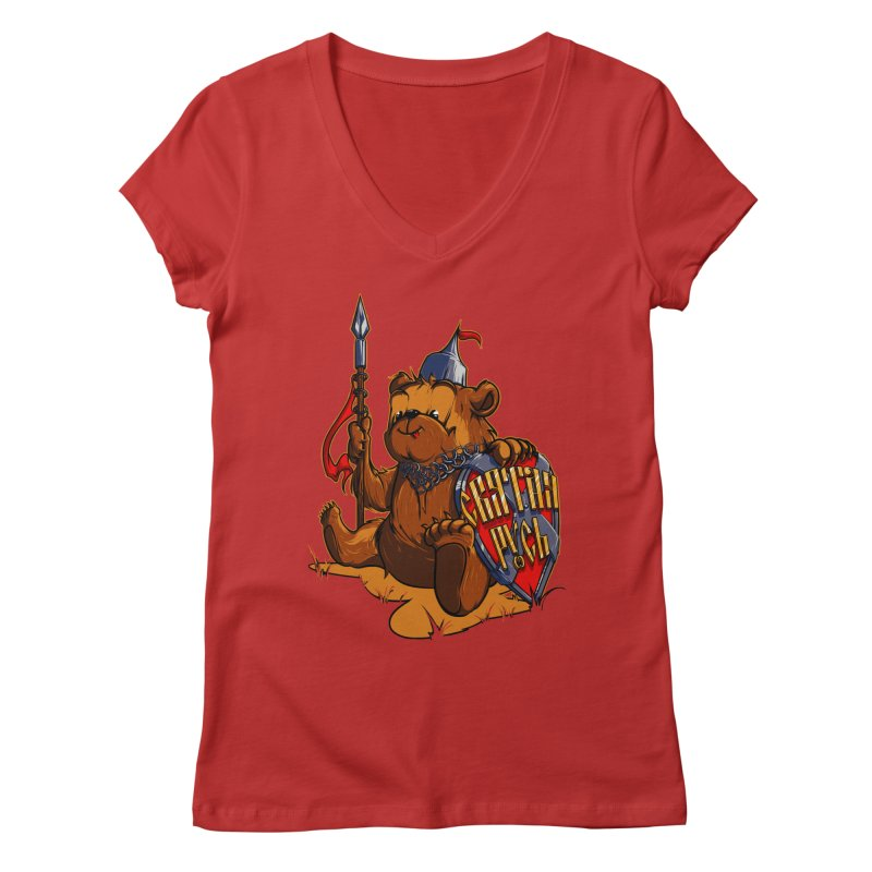Bear from Russia Women's V-Neck by fishark's Artist Shop