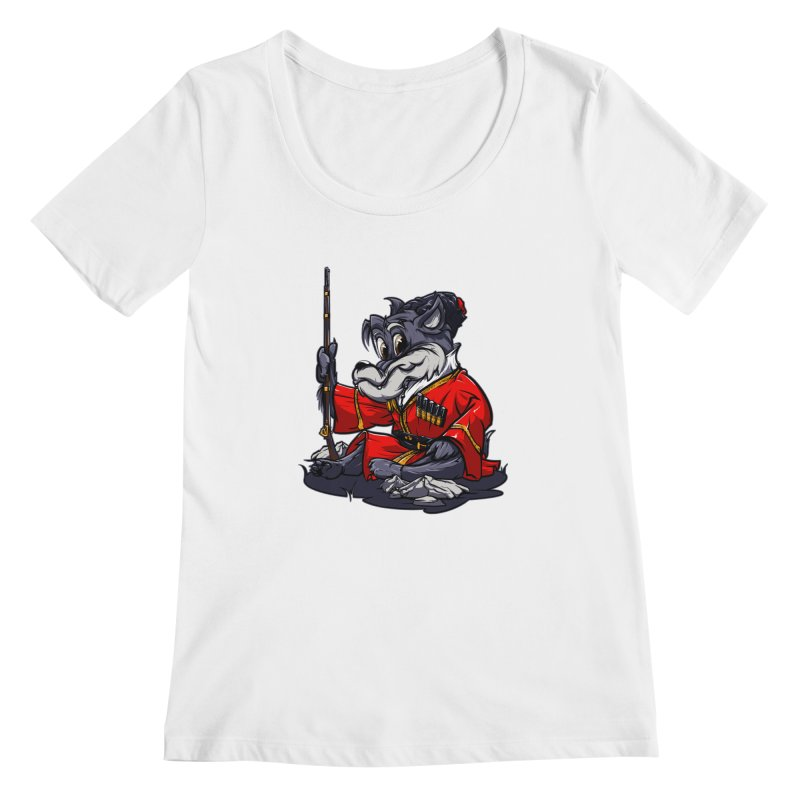 Wolf from Russia Women's Scoopneck by fishark's Artist Shop