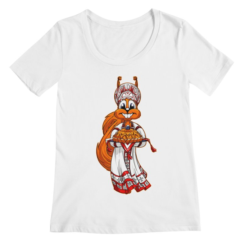squirrel from Russia Women's Scoopneck by fishark's Artist Shop