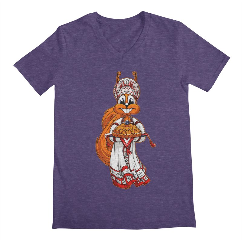 squirrel from Russia Men's V-Neck by fishark's Artist Shop