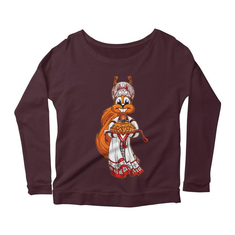 squirrel from Russia Women's Longsleeve Scoopneck  by fishark's Artist Shop