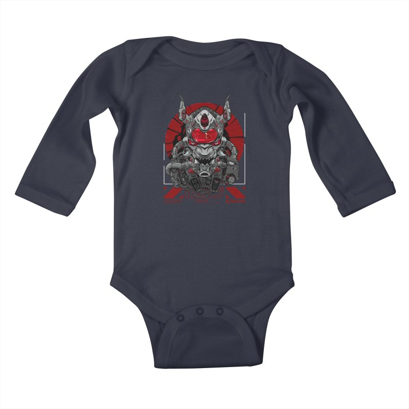 Cyber Samurai Kids Baby Longsleeve Bodysuit by fishark's Artist Shop