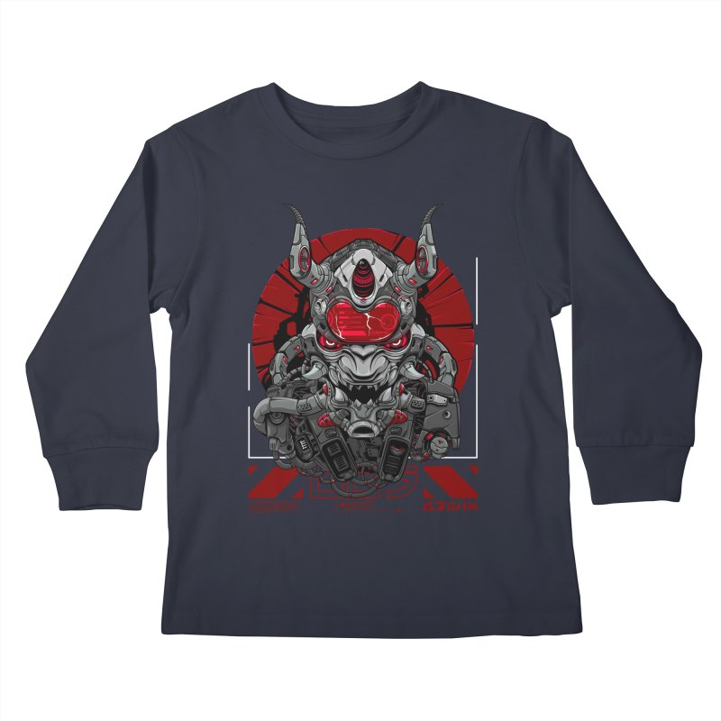 Cyber Samurai Kids Longsleeve T-Shirt by fishark's Artist Shop