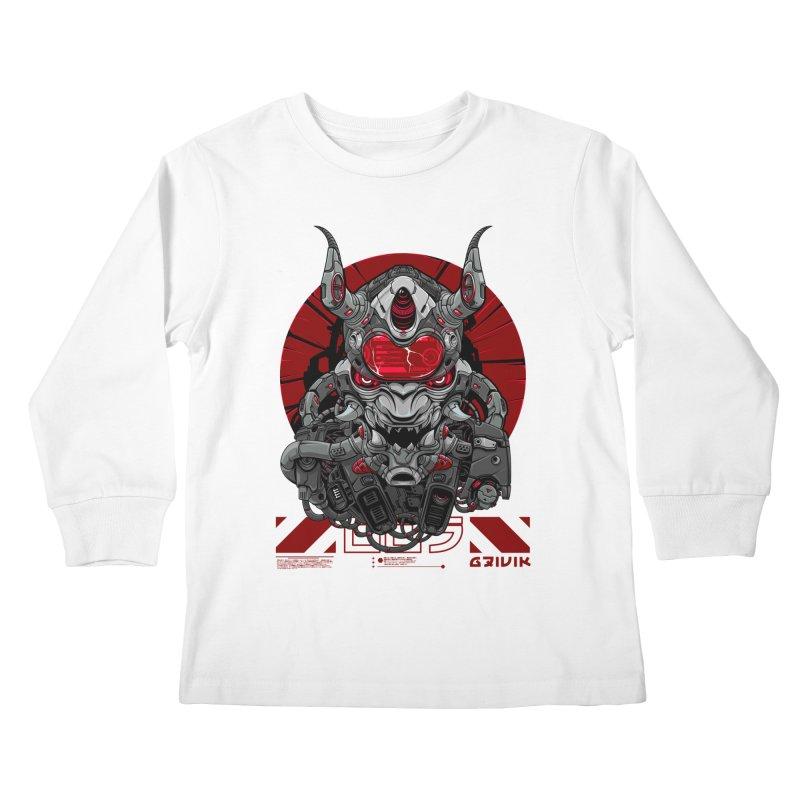Cyber Samurai Kids Longsleeve T-Shirt by fishark's Artist Shop
