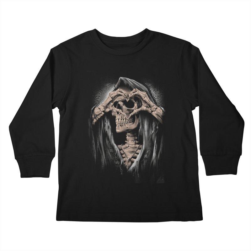 Skeleton love Kids Longsleeve T-Shirt by fishark's Artist Shop