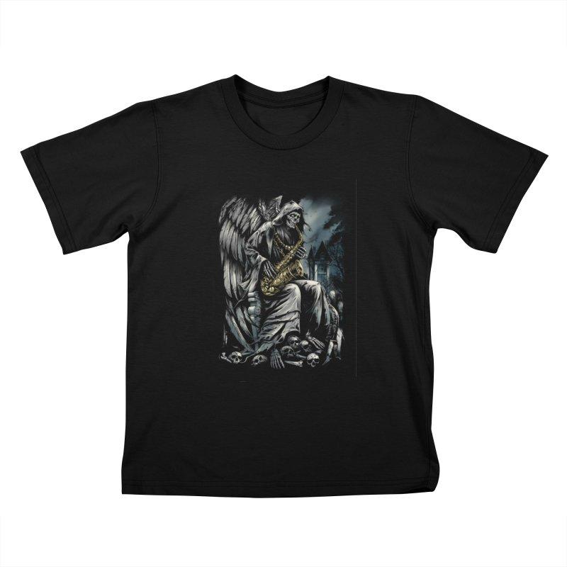 Skeleton saxophonist Kids T-Shirt by fishark's Artist Shop