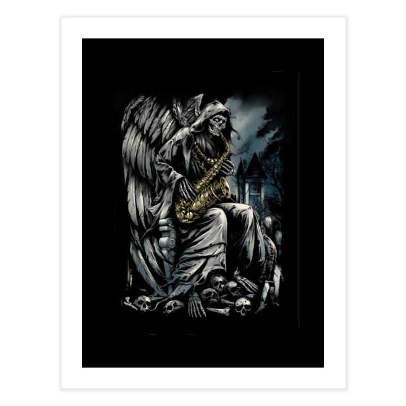 Skeleton saxophonist Home Fine Art Print by fishark's Artist Shop