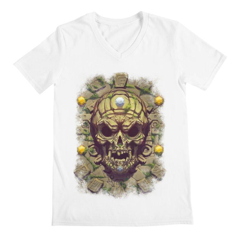 skull aztec Men's V-Neck by fishark's Artist Shop