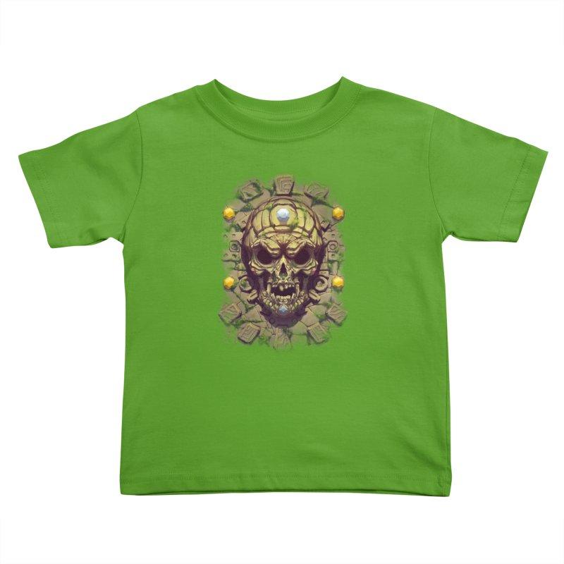 skull aztec Kids Toddler T-Shirt by fishark's Artist Shop