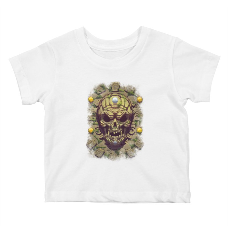 skull aztec Kids Baby T-Shirt by fishark's Artist Shop