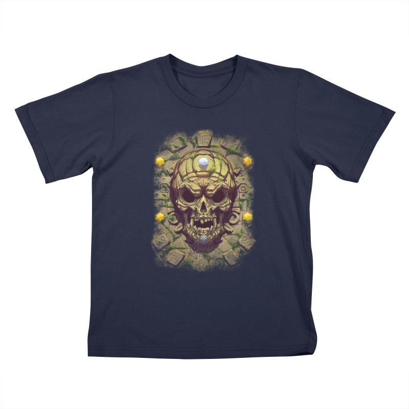 skull aztec Kids T-Shirt by fishark's Artist Shop