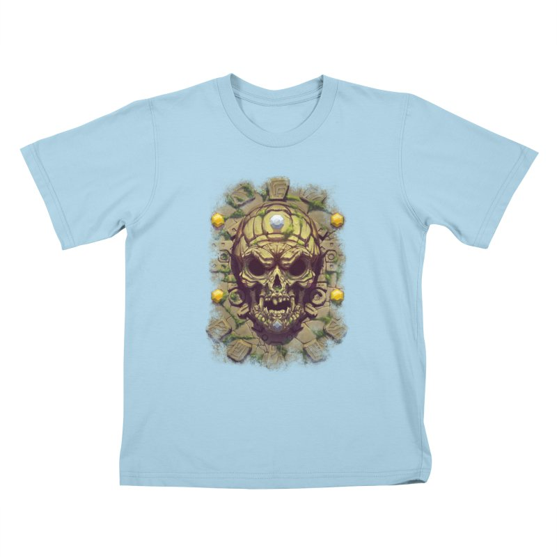 skull aztec Kids T-Shirt by fishark's Artist Shop