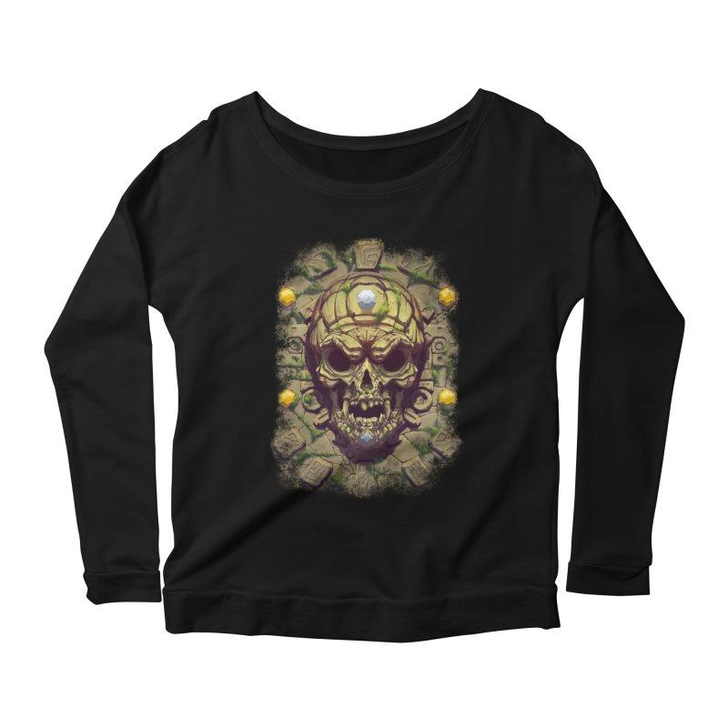 skull aztec Women's Longsleeve T-Shirt by fishark's Artist Shop