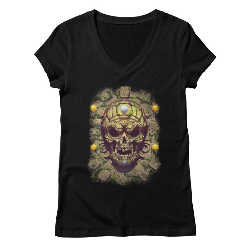 skull aztec Women's V-Neck by fishark's Artist Shop