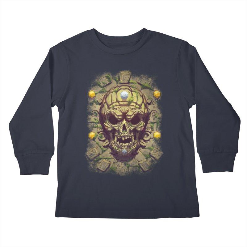 skull aztec Kids Longsleeve T-Shirt by fishark's Artist Shop