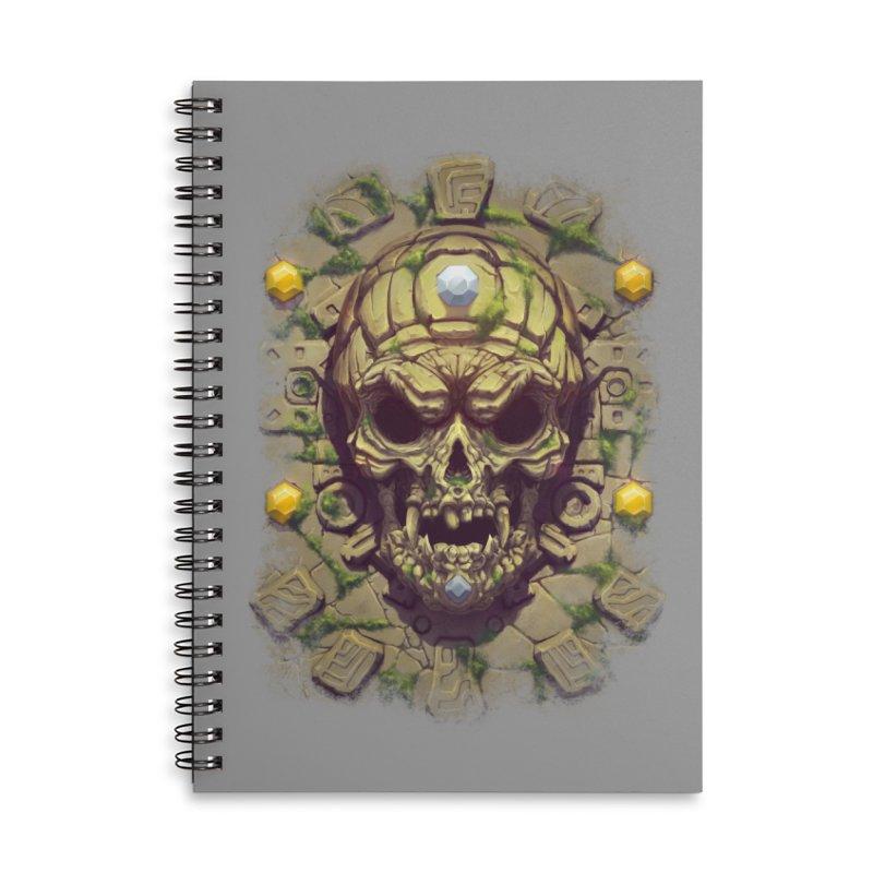 skull aztec Accessories Notebook by fishark's Artist Shop