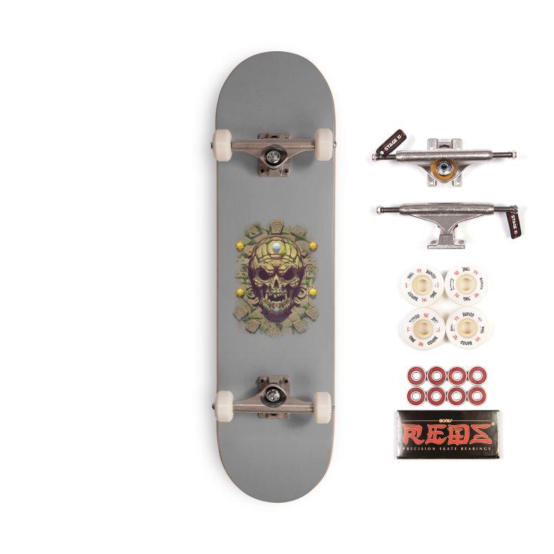 skull aztec Accessories Skateboard by fishark's Artist Shop