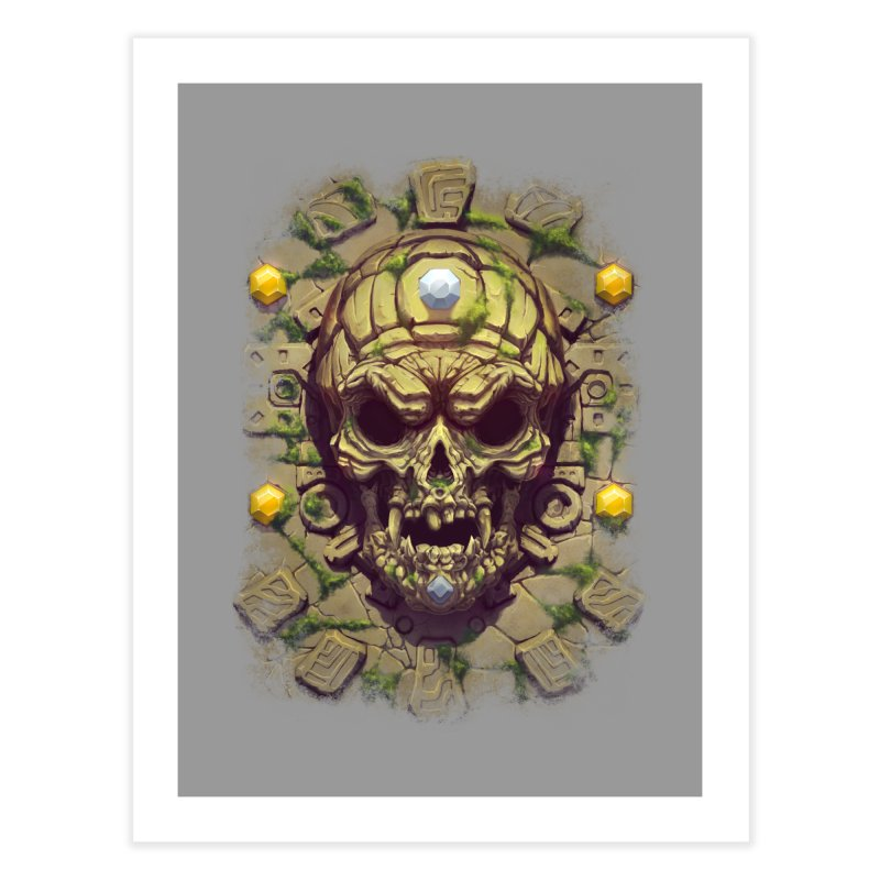 skull aztec Home Fine Art Print by fishark's Artist Shop