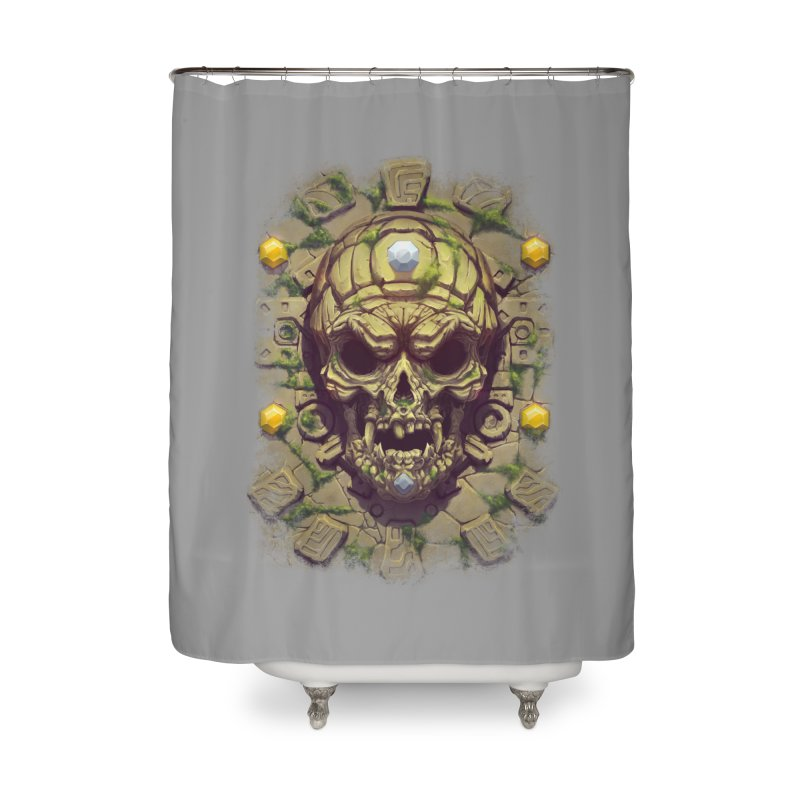skull aztec Home Shower Curtain by fishark's Artist Shop