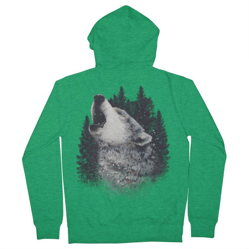 wolf Men's Zip-Up Hoody by fishark's Artist Shop
