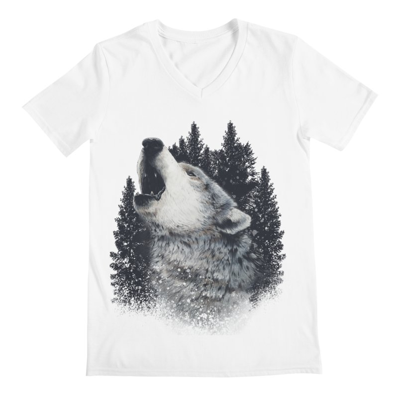 wolf Men's V-Neck by fishark's Artist Shop