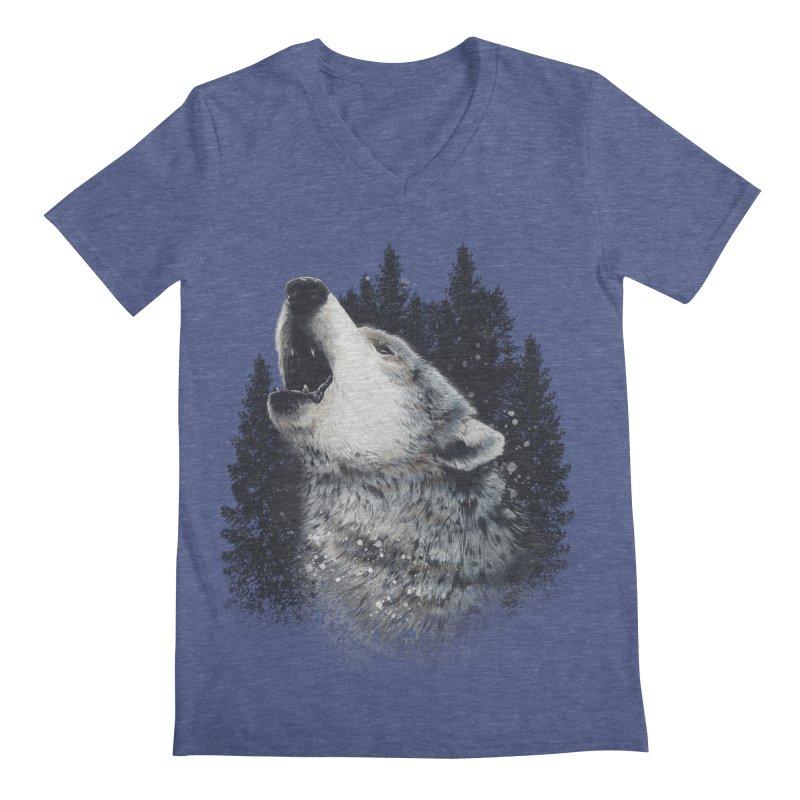 wolf Men's V-Neck by fishark's Artist Shop