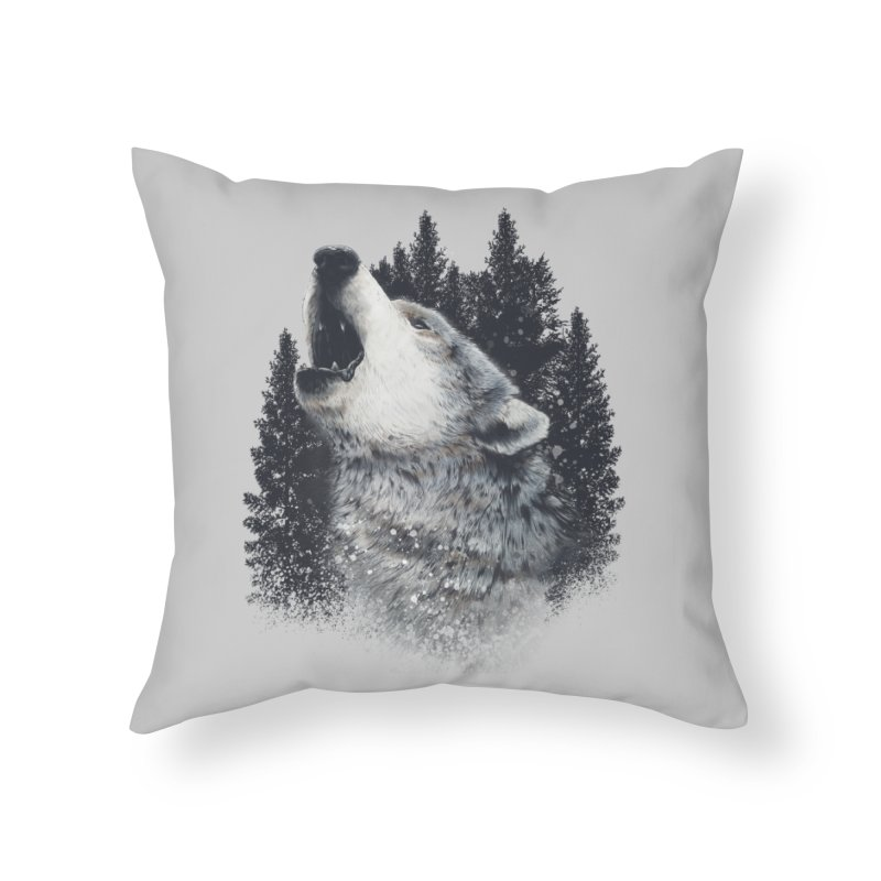 wolf Home Throw Pillow by fishark's Artist Shop