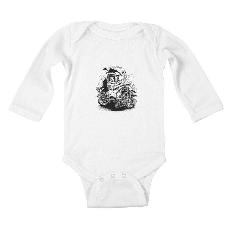 Enduro Kids Baby Longsleeve Bodysuit by fishark's Artist Shop