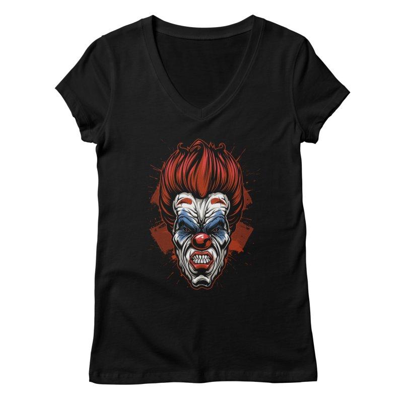Evil clown Women's V-Neck by fishark's Artist Shop