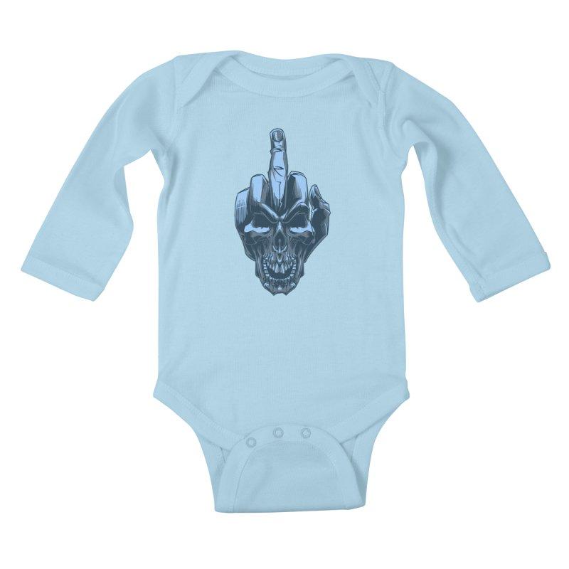 Fuck Skull Kids Baby Longsleeve Bodysuit by fishark's Artist Shop